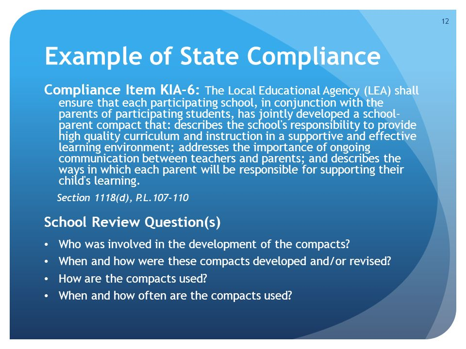 Example of State Compliance Compliance Item KIA-6: The Local Educational Agency (LEA) shall ensure that each participating school, in conjunction with the parents of participating students, has jointly developed a school- parent compact that: describes the school s responsibility to provide high quality curriculum and instruction in a supportive and effective learning environment; addresses the importance of ongoing communication between teachers and parents; and describes the ways in which each parent will be responsible for supporting their child s learning.