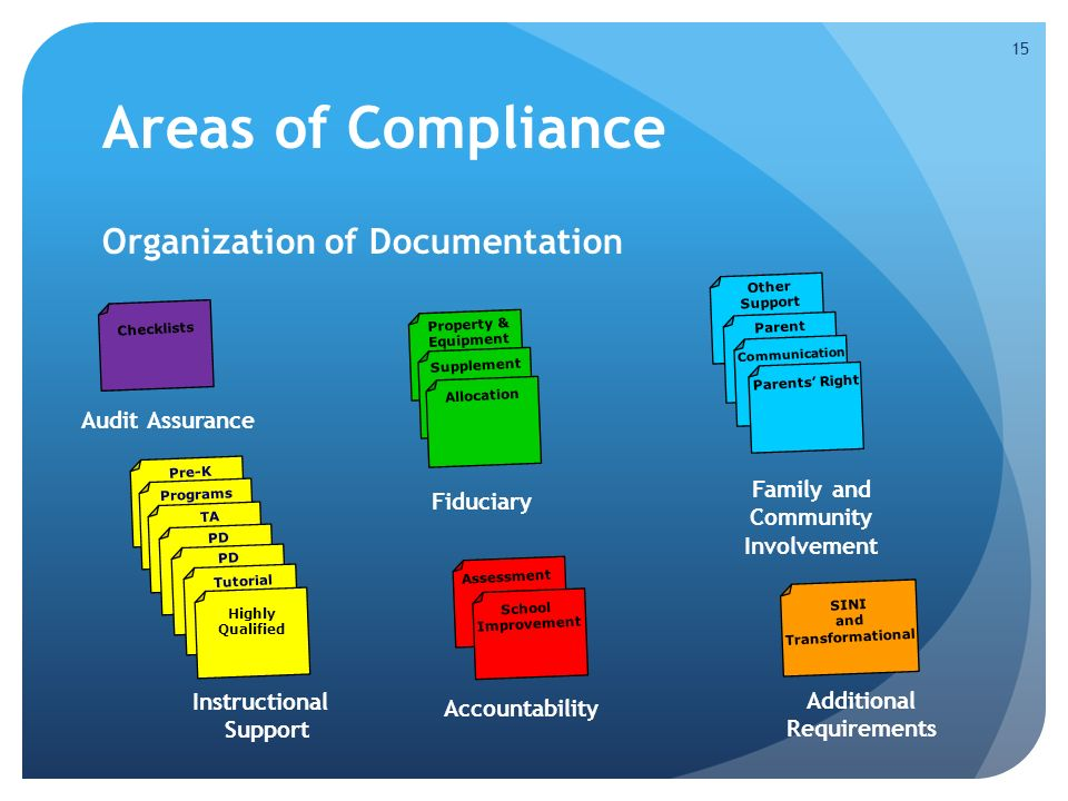 Areas of Compliance Organization of Documentation 15 Fiduciary Property & Equipment Supplement Allocation Audit Assurance Checklists Pre-K Instructional Support Programs TA PD Tutorial Highly Qualified Family and Community Involvement Other Support Parent Communication Parents' Right Additional Requirements SINI and Transformational Accountability Assessment School Improvement