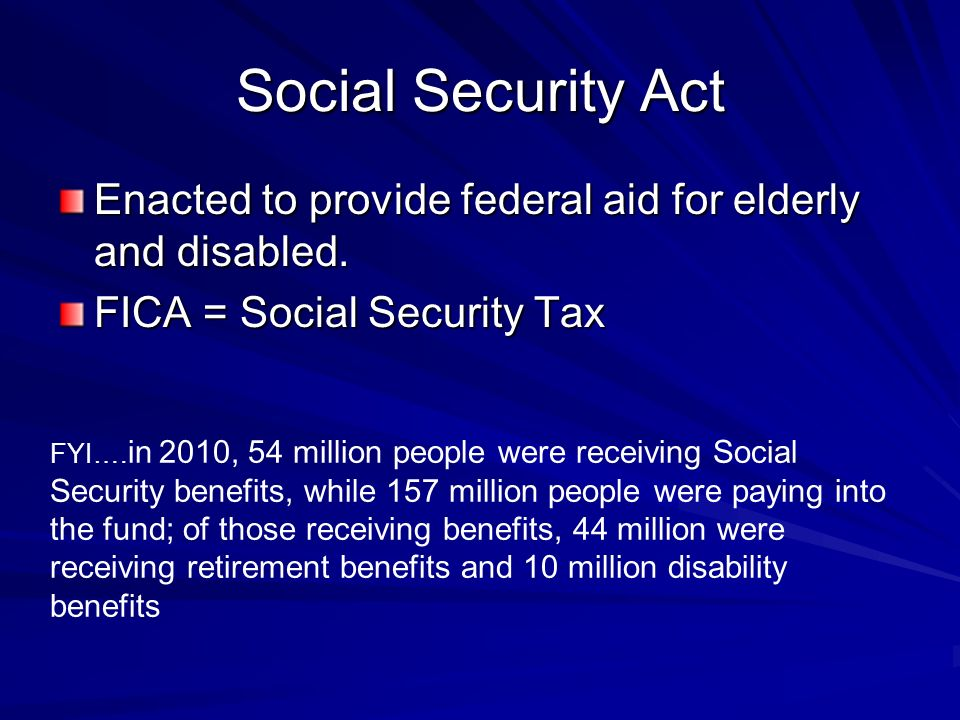 Social Security Act Enacted to provide federal aid for elderly and disabled.