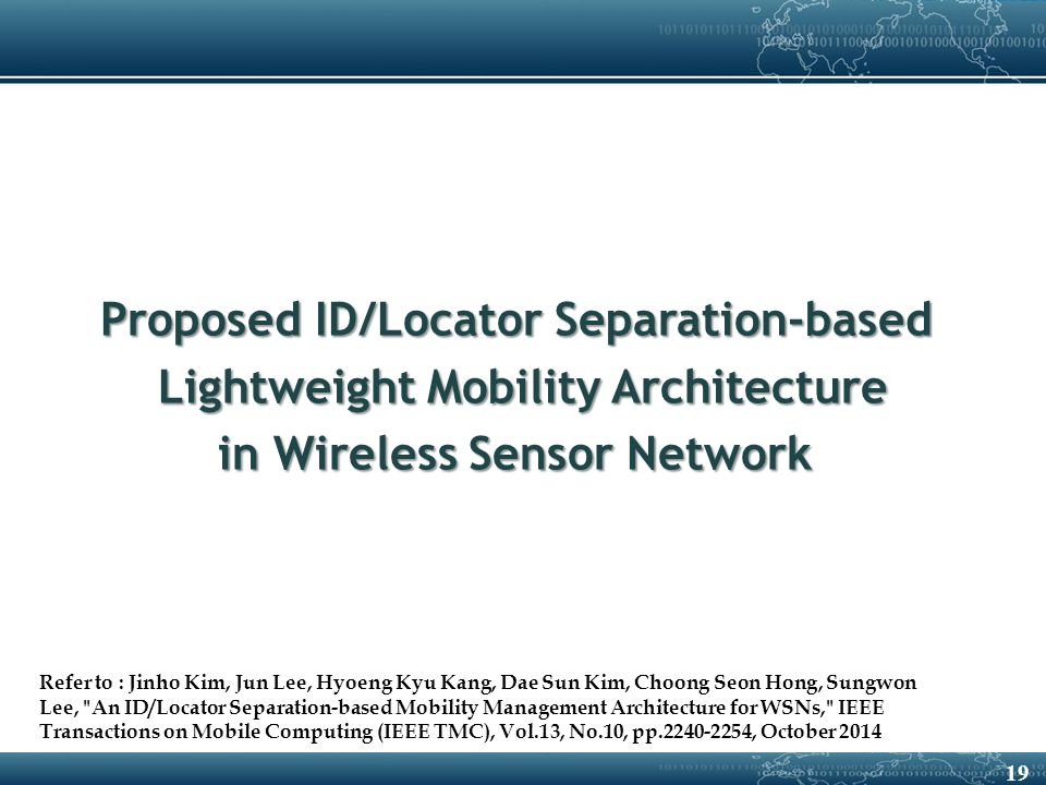 19 Proposed ID/Locator Separation-based Lightweight Mobility Architecture Lightweight Mobility Architecture in Wireless Sensor Network Refer to : Jinho Kim, Jun Lee, Hyoeng Kyu Kang, Dae Sun Kim, Choong Seon Hong, Sungwon Lee, An ID/Locator Separation-based Mobility Management Architecture for WSNs, IEEE Transactions on Mobile Computing (IEEE TMC), Vol.13, No.10, pp.2240-2254, October 2014