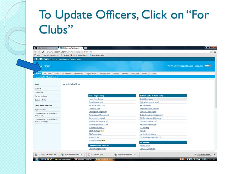 To Update Officers, Click on For Clubs