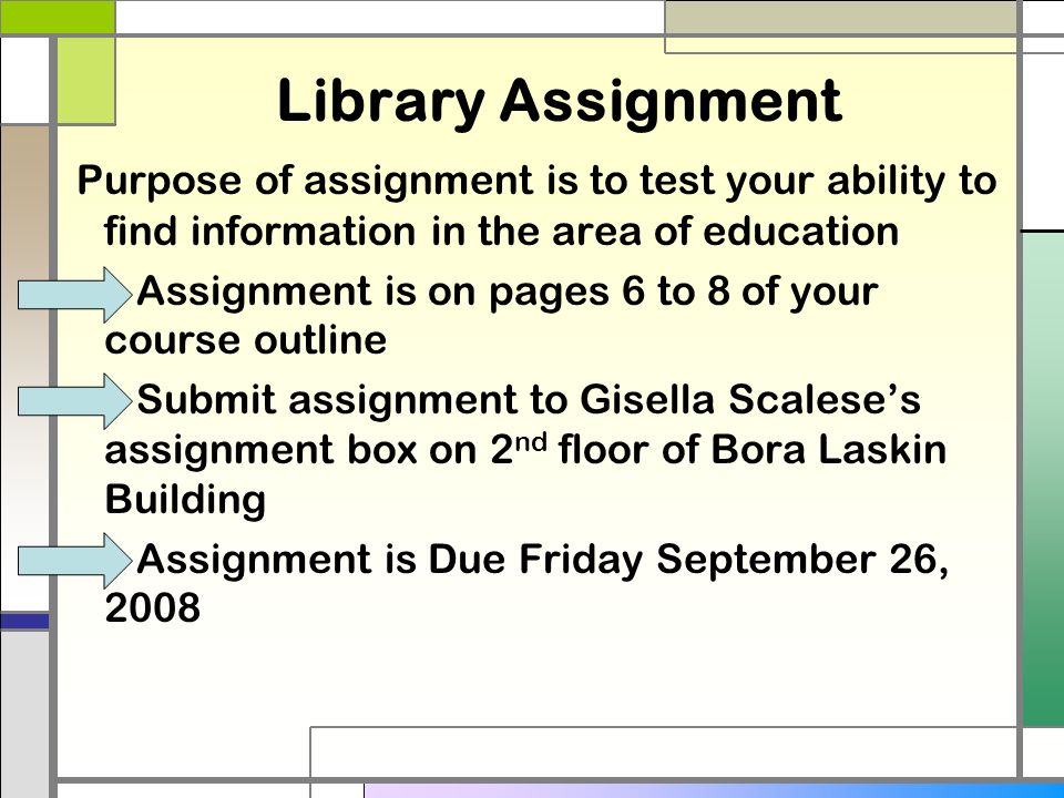 library assignment Assignment library uiuc national institute for learning outcomes assessment © 2014 lumina foundation.