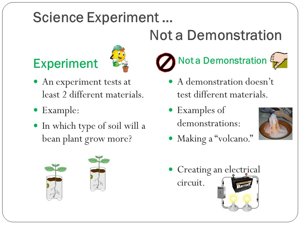 Science Experiment … Not a Demonstration Experiment Not a Demonstration An experiment tests at least 2 different materials.