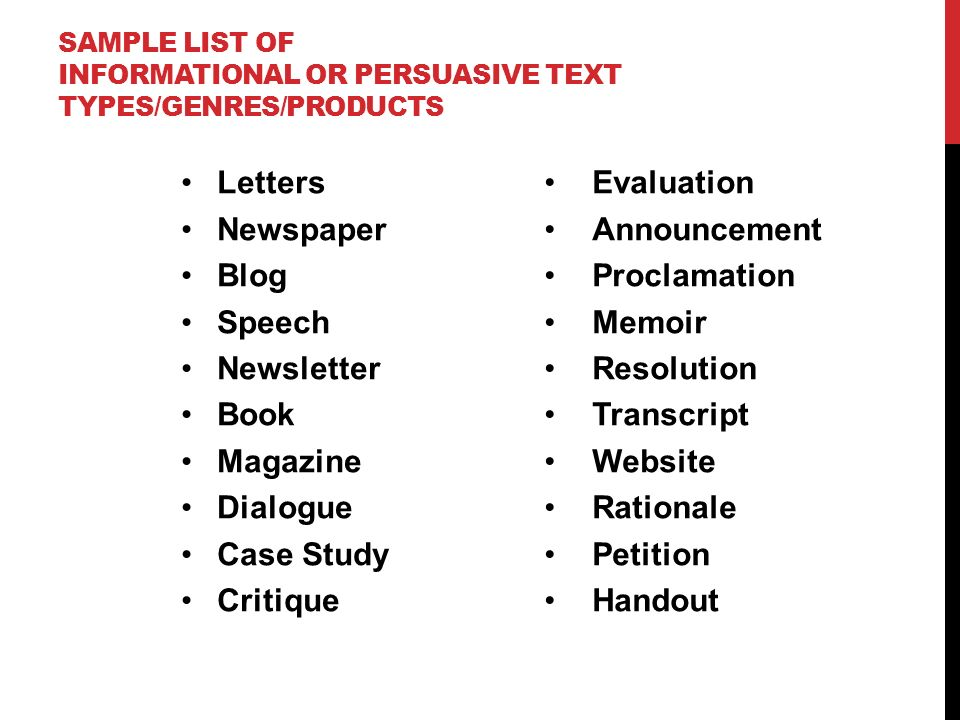 post seminar writing it s time for products audiences that  6 sample list of informational or persuasive text types genres products letters newspaper blog speech newsletter book magazine dialogue case study critique
