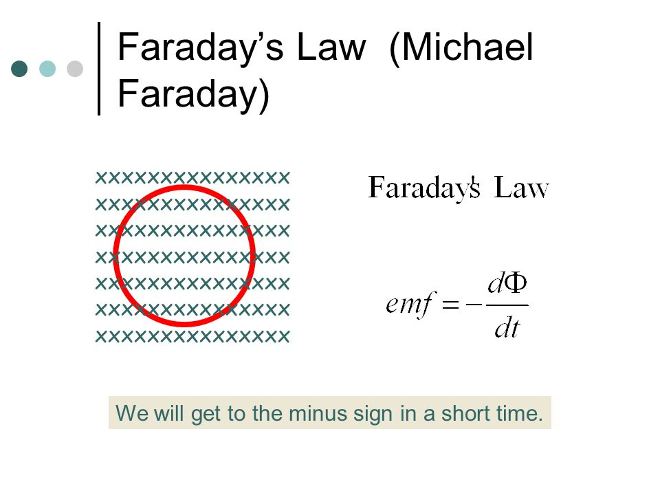 Faraday's Law (Michael Faraday) For a current to flow around the circuit, there must be an emf.