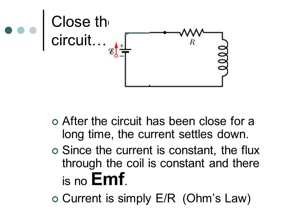 Look at the following circuit: Switch is open NO current flows in the circuit. All is at peace!
