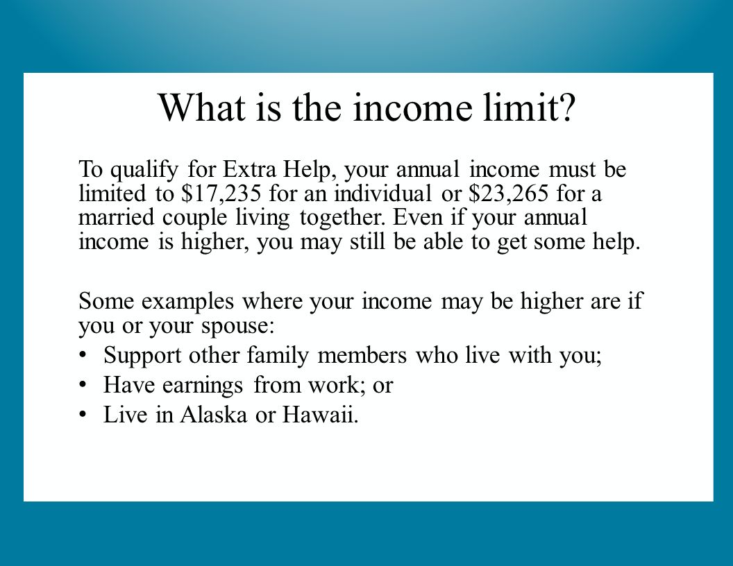 To Qualify For Extra Help, Your Annual Income Must Be Limited To $17,235  For An