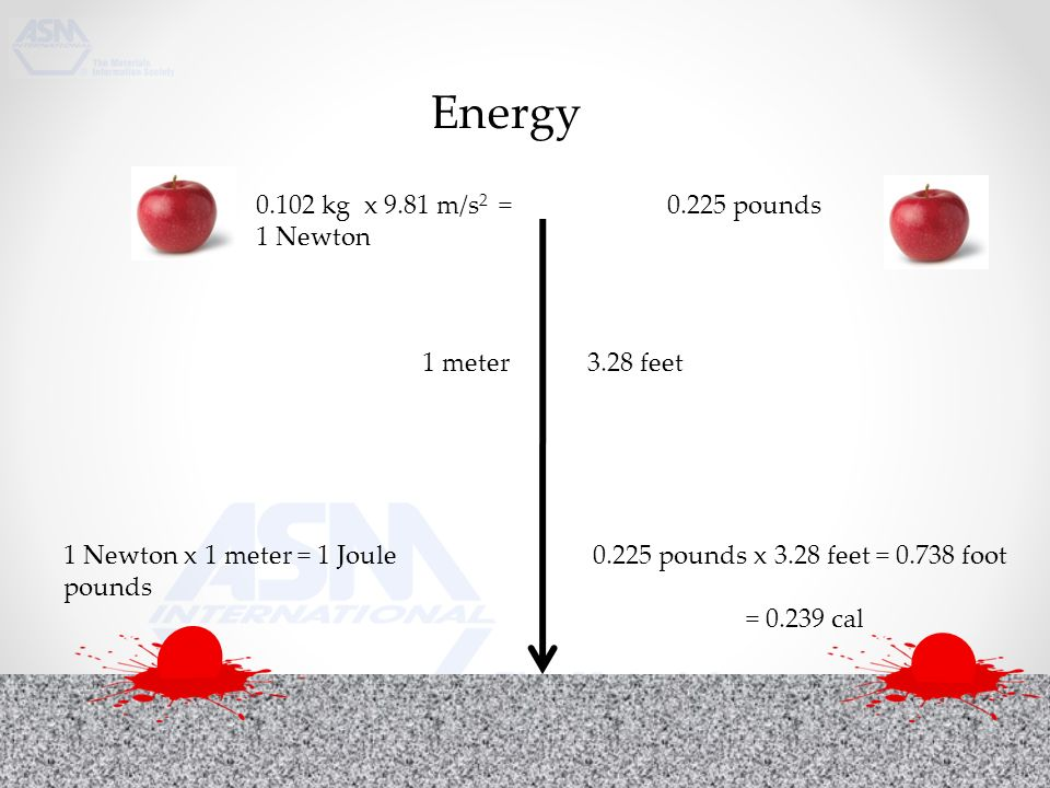 Energy kg x 9.81 m/s 2 = 1 Newton pounds 1 meter 3.28 feet 1 Newton x 1 meter = 1 Joule pounds x 3.28 feet = foot pounds = cal