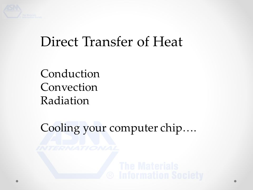 Direct Transfer of Heat Conduction Convection Radiation Cooling your computer chip….