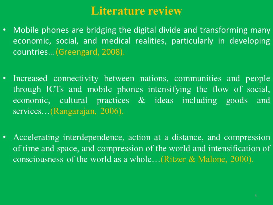 Literature review on mobile phones