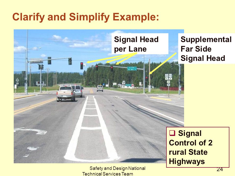Safety and Design National Technical Services Team 24 Signal Head per Lane Supplemental Far Side Signal Head  Signal Control of 2 rural State Highways Clarify and Simplify Example: