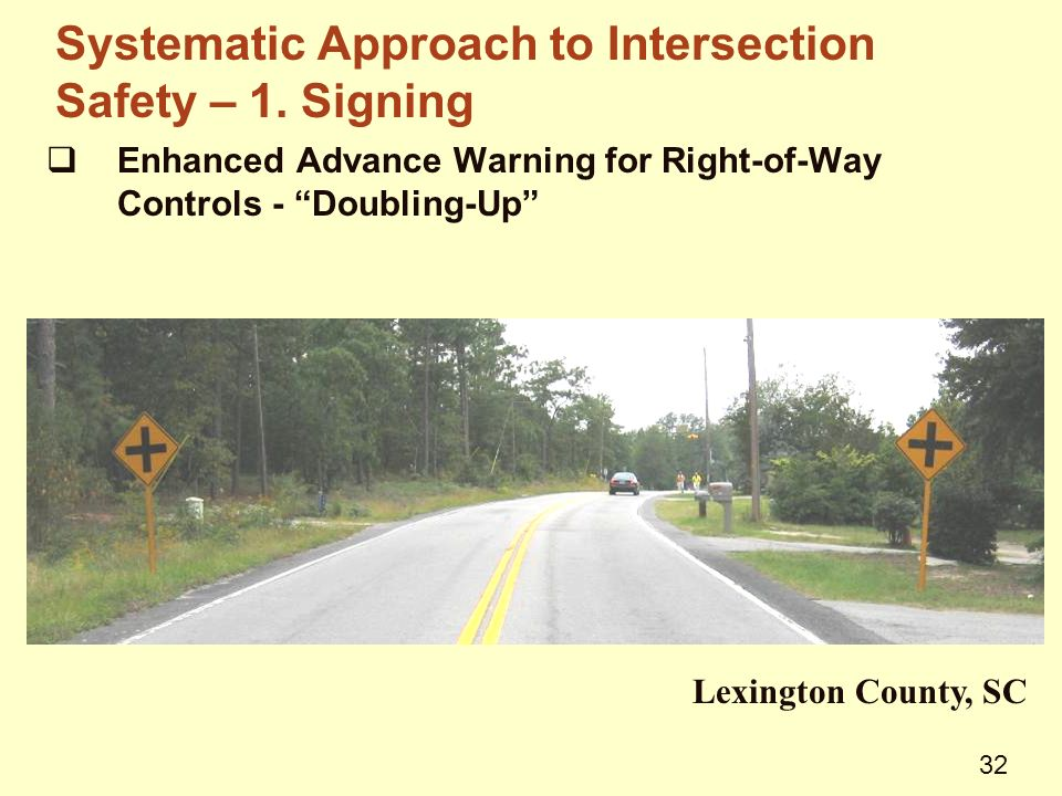  Enhanced Advance Warning for Right-of-Way Controls - Doubling-Up Lexington County, SC Systematic Approach to Intersection Safety – 1.