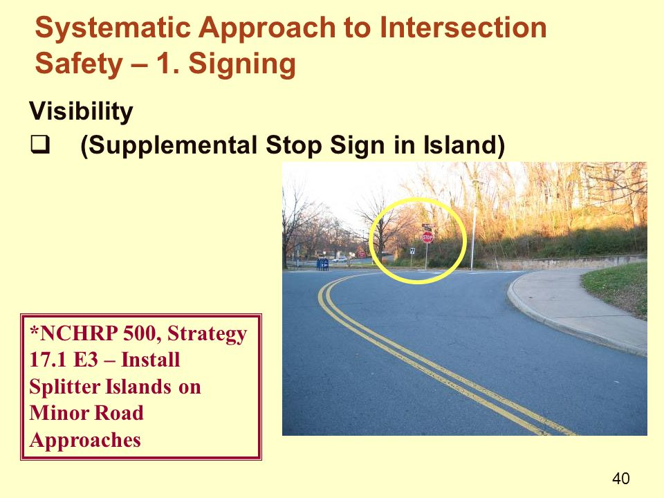 Visibility  (Supplemental Stop Sign in Island) *NCHRP 500, Strategy 17.1 E3 – Install Splitter Islands on Minor Road Approaches Systematic Approach to Intersection Safety – 1.