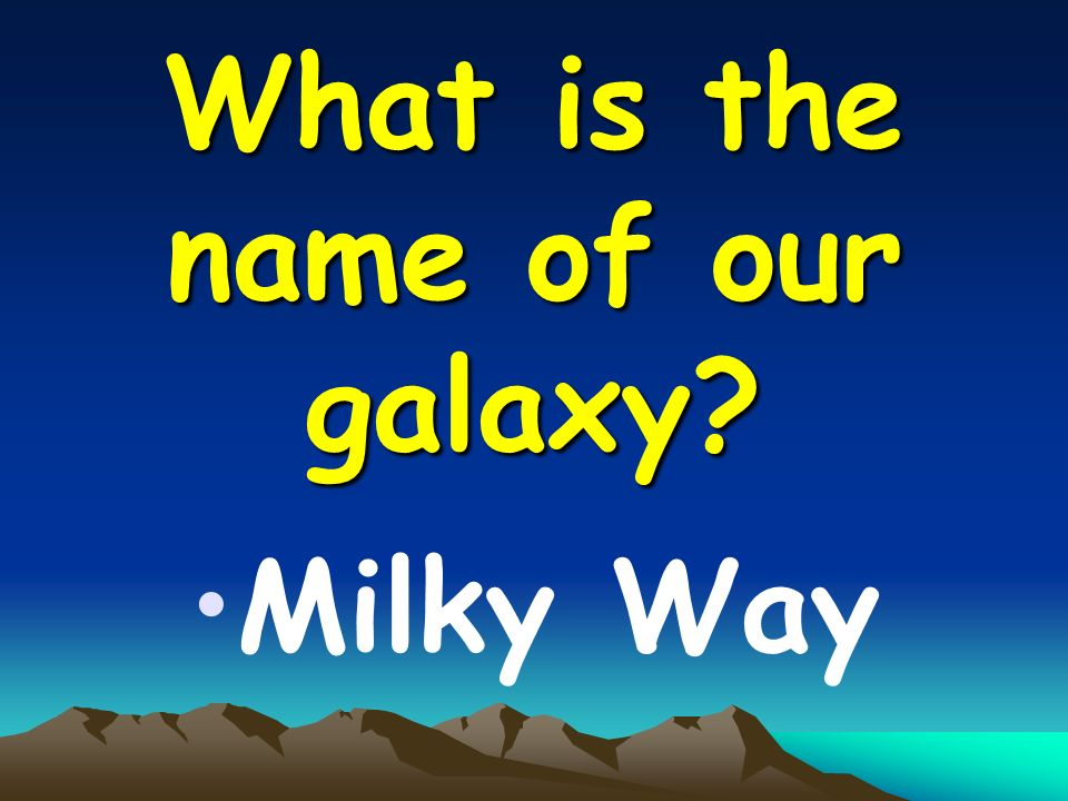 What is the name of our galaxy Milky Way