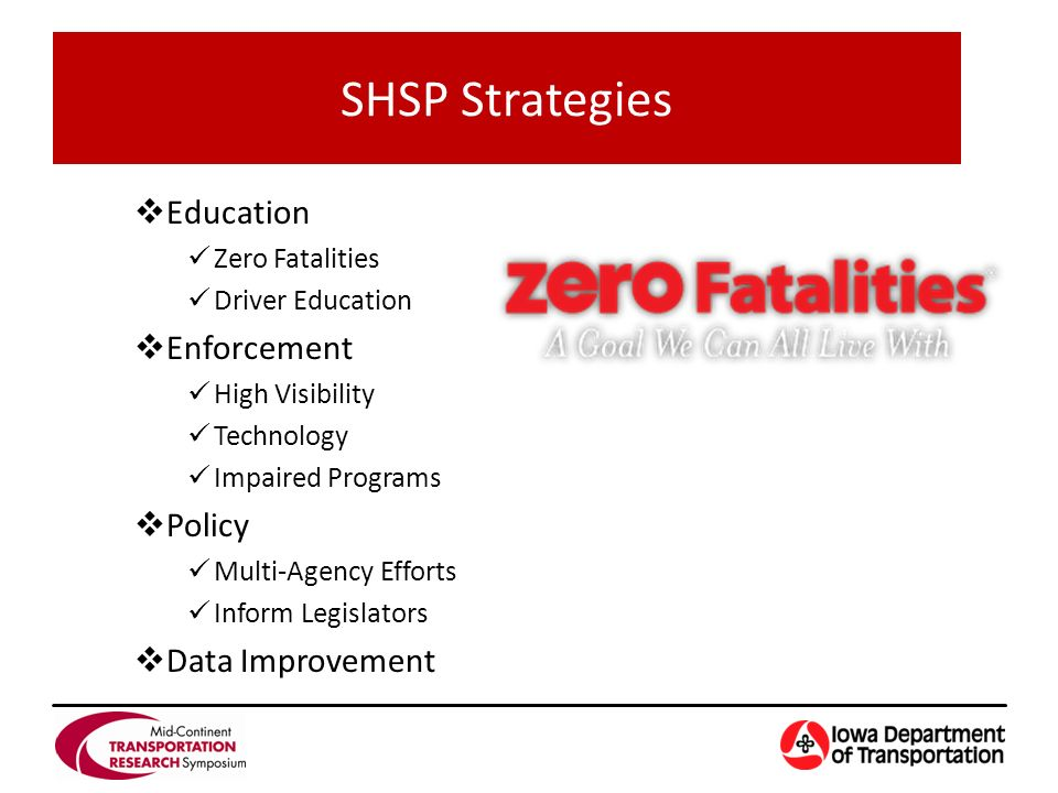  Education Zero Fatalities Driver Education  Enforcement High Visibility Technology Impaired Programs  Policy Multi-Agency Efforts Inform Legislators  Data Improvement SHSP Strategies