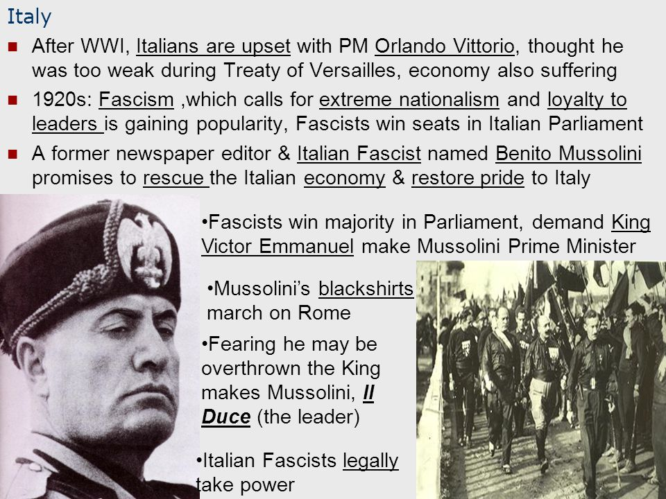 Italy After WWI, Italians are upset with PM Orlando Vittorio, thought he was too weak during Treaty of Versailles, economy also suffering 1920s: Fascism,which calls for extreme nationalism and loyalty to leaders is gaining popularity, Fascists win seats in Italian Parliament A former newspaper editor & Italian Fascist named Benito Mussolini promises to rescue the Italian economy & restore pride to Italy Fascists win majority in Parliament, demand King Victor Emmanuel make Mussolini Prime Minister Mussolini's blackshirts march on Rome Fearing he may be overthrown the King makes Mussolini, Il Duce (the leader) Italian Fascists legally take power