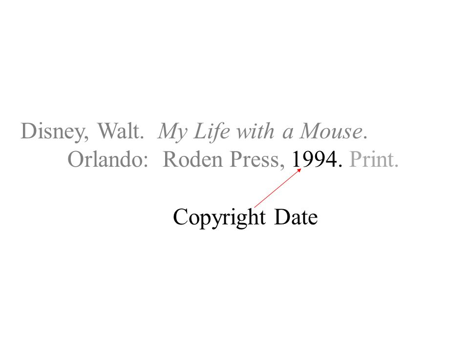 Disney, Walt. My Life with a Mouse. Orlando: Roden Press, Print. Copyright Date