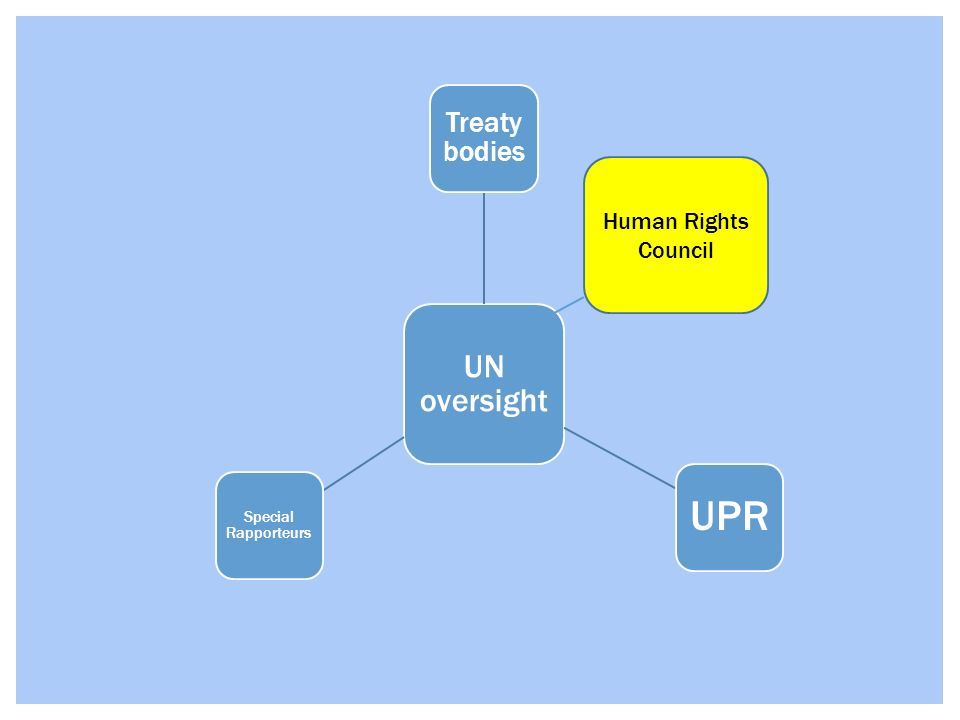 UN oversight Treaty bodies Special Rapporteurs UPR Human Rights Council