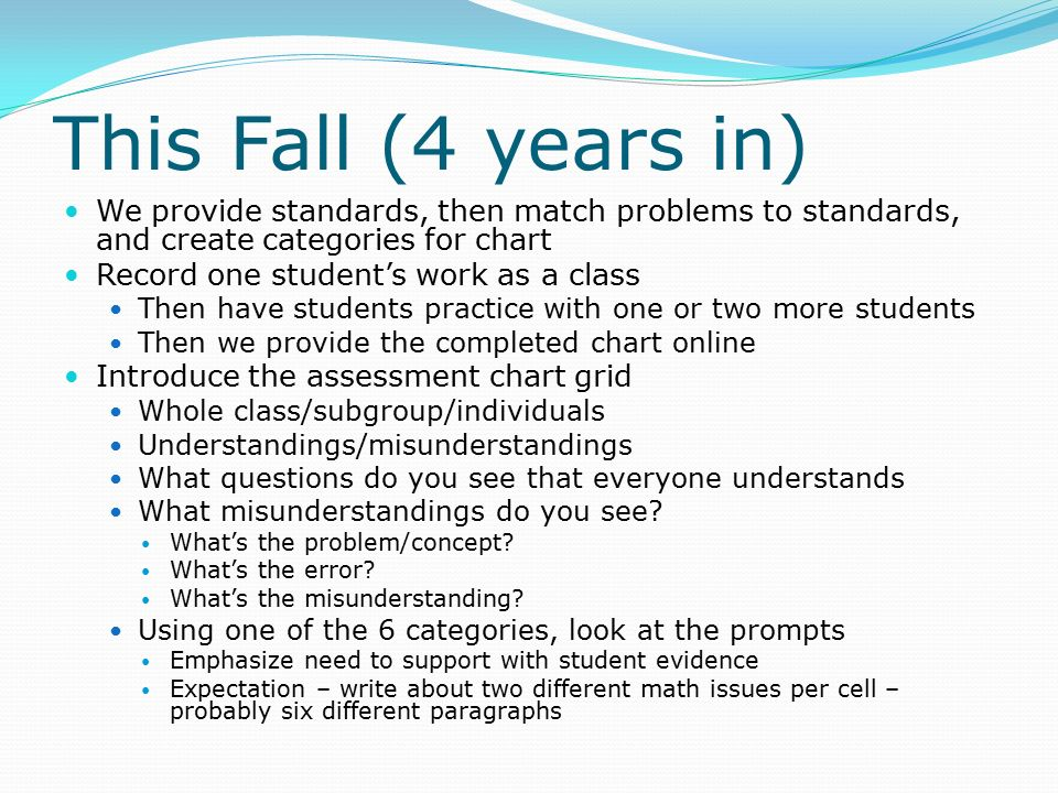 This Fall (4 years in) We provide standards, then match problems to standards, and create categories for chart Record one student's work as a class Then have students practice with one or two more students Then we provide the completed chart online Introduce the assessment chart grid Whole class/subgroup/individuals Understandings/misunderstandings What questions do you see that everyone understands What misunderstandings do you see.