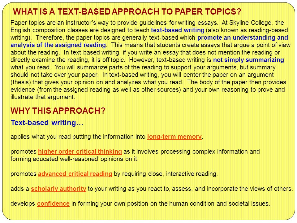 text based essay
