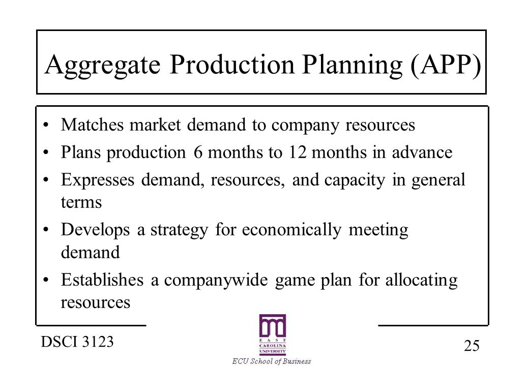 1 DSCI 3123 Forecasting & Aggregate Production Planning Strategic ...