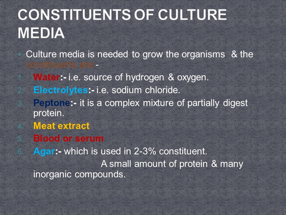 Culture media is needed to grow the organisms & the constituents are:- 1.