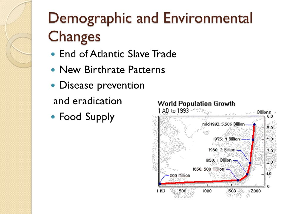 Demographic and Environmental Changes End of Atlantic Slave Trade New Birthrate Patterns Disease prevention and eradication Food Supply