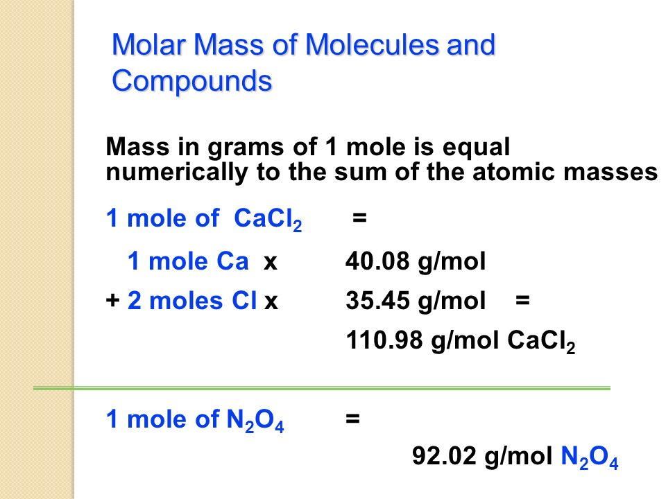 Other Names Related to Molar Mass Molecular Mass: If you have a single molecule, mass is measured in amu's instead of grams.