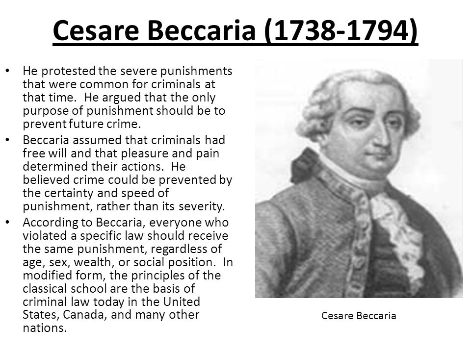 an essay on crimes and punishment cesare beccaria Cesare beccaria was one of the greatest minds famous people named cesare he published his famous and influential criminology essay, on crimes and punishments.