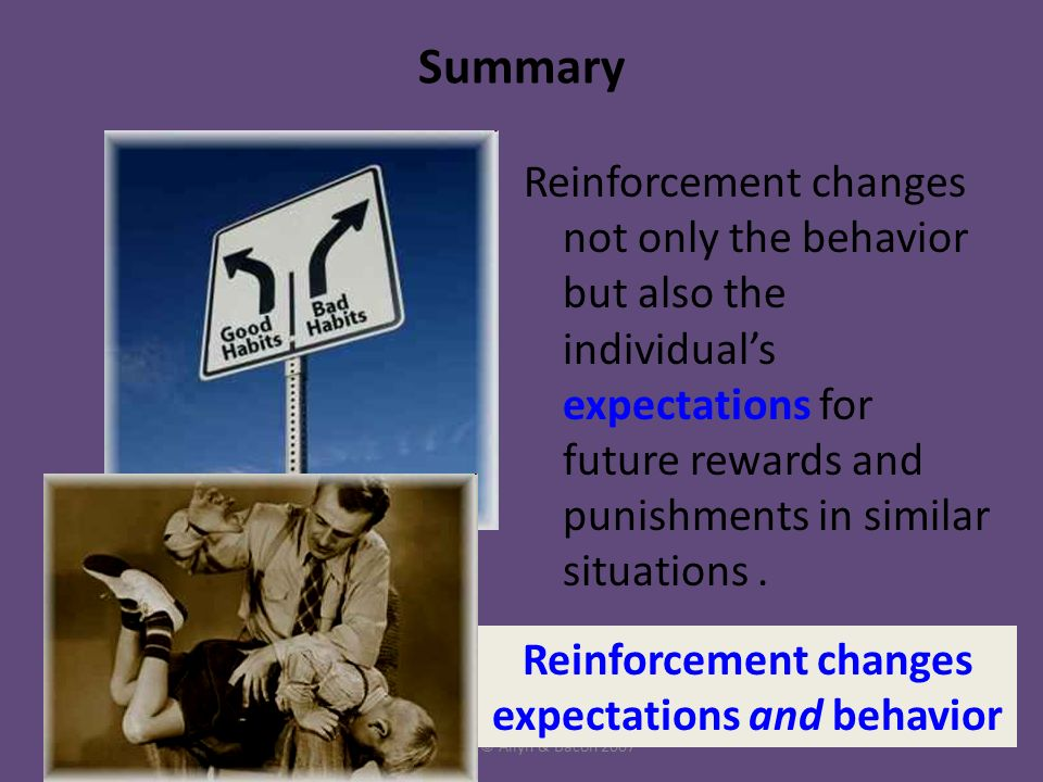 Copyright © Allyn & Bacon 2007 Summary Reinforcement changes not only the behavior but also the individual's expectations for future rewards and punishments in similar situations.