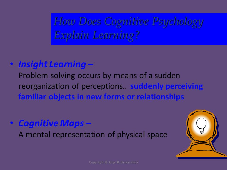 Copyright © Allyn & Bacon 2007 Insight Learning – Problem solving occurs by means of a sudden reorganization of perceptions..