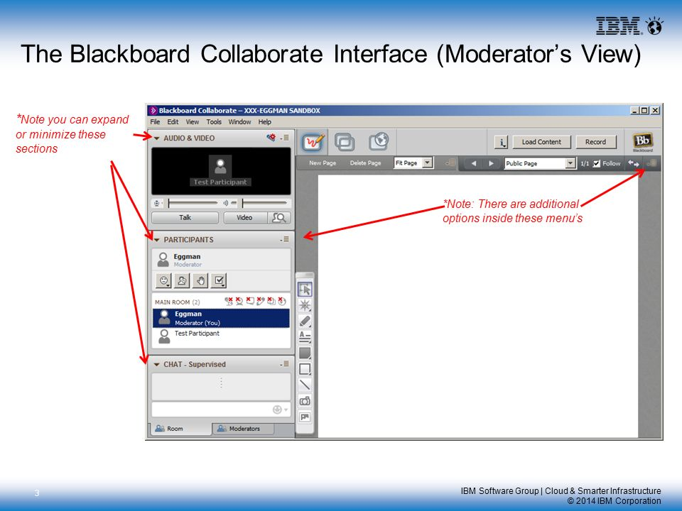 IBM Software Group | Cloud & Smarter Infrastructure © 2014 IBM Corporation The Blackboard Collaborate Interface (Moderator's View) 3 *Note: There are additional options inside these menu's * Note you can expand or minimize these sections