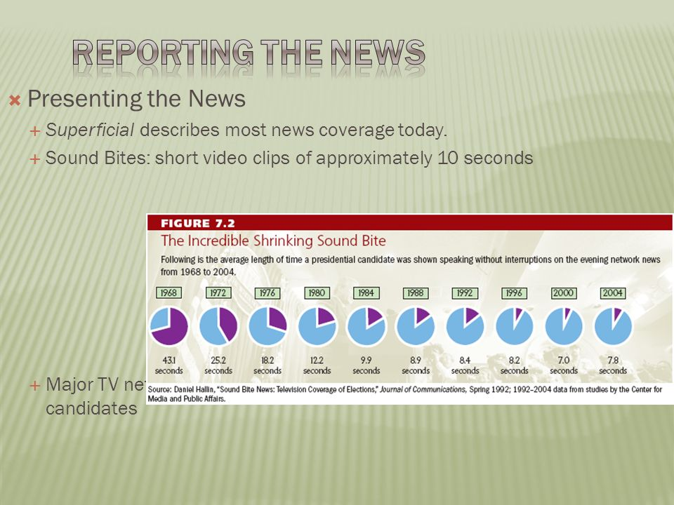  Presenting the News  Superficial describes most news coverage today.