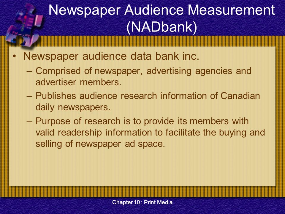 research on newspaper readership National newspaper association has been protecting, promoting and enhancing community newspapers since 1885, through active and effective government relation programs that addresses the issues affecting community newspapers, through education of readers, advertisers, and policy officials and by providing information, solutions and strategies.