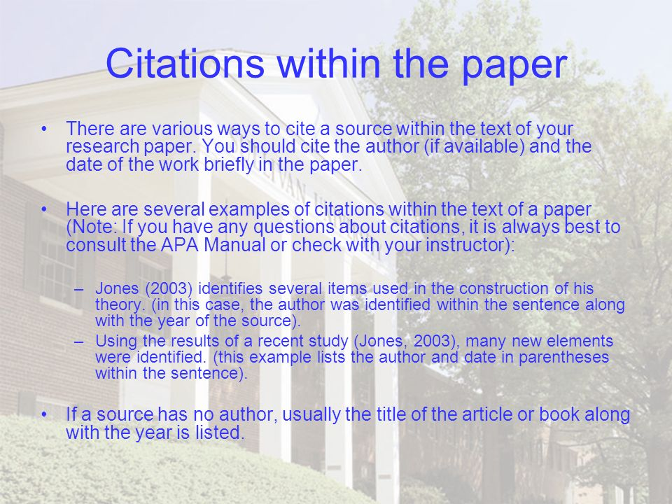apa citation for research paper Apa in-text citation examples what is an in-text citation an in-text citation is found in the body of a research paper it tells your reader where you found.