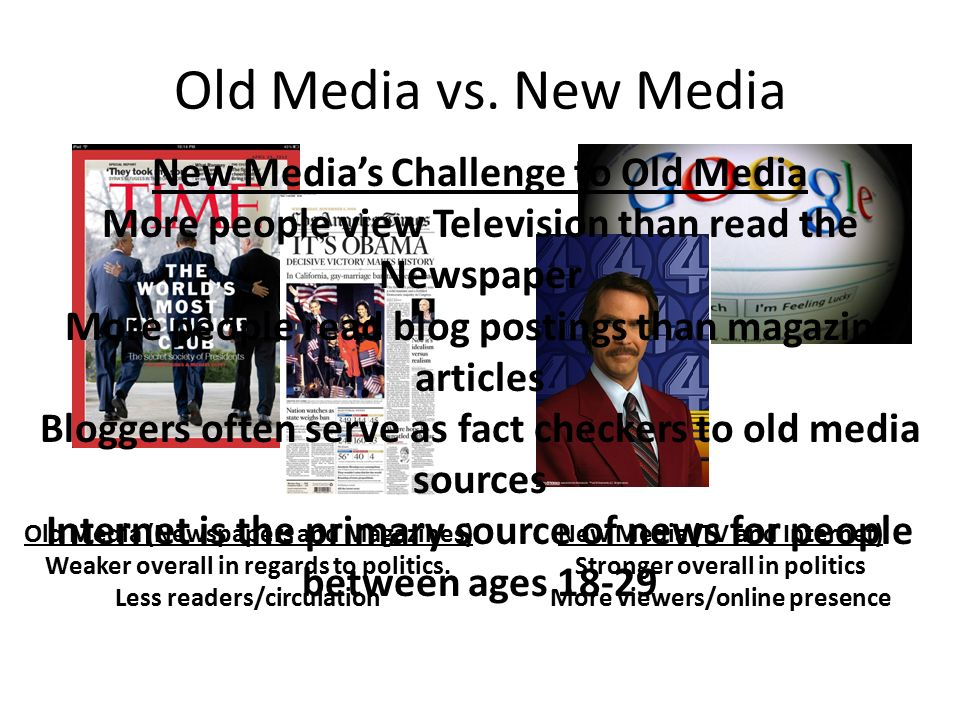 Old Media vs. New Media Old Media (Newspapers and Magazines) Weaker overall in regards to politics.