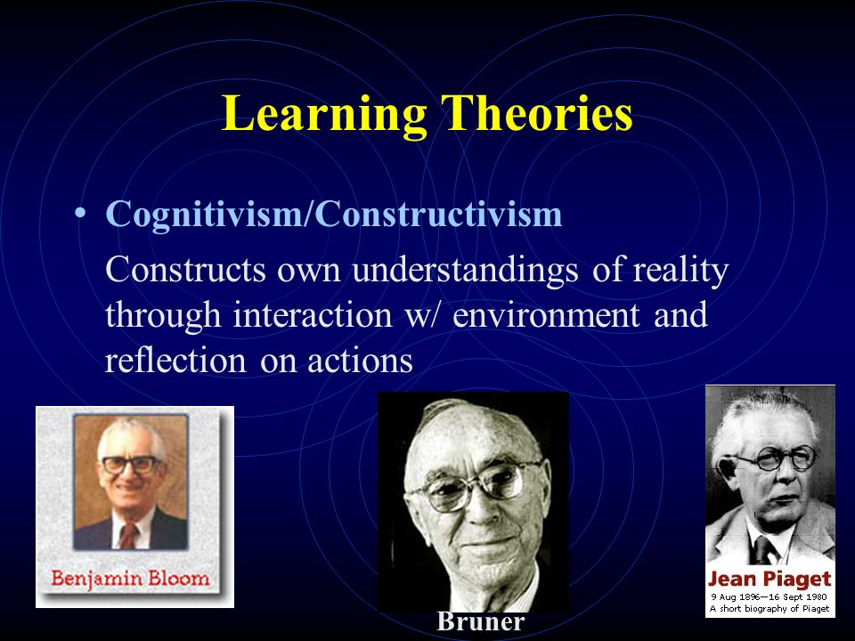 Learning Theories Cognitivism/Constructivism Constructs own understandings of reality through interaction w/ environment and reflection on actions Bruner