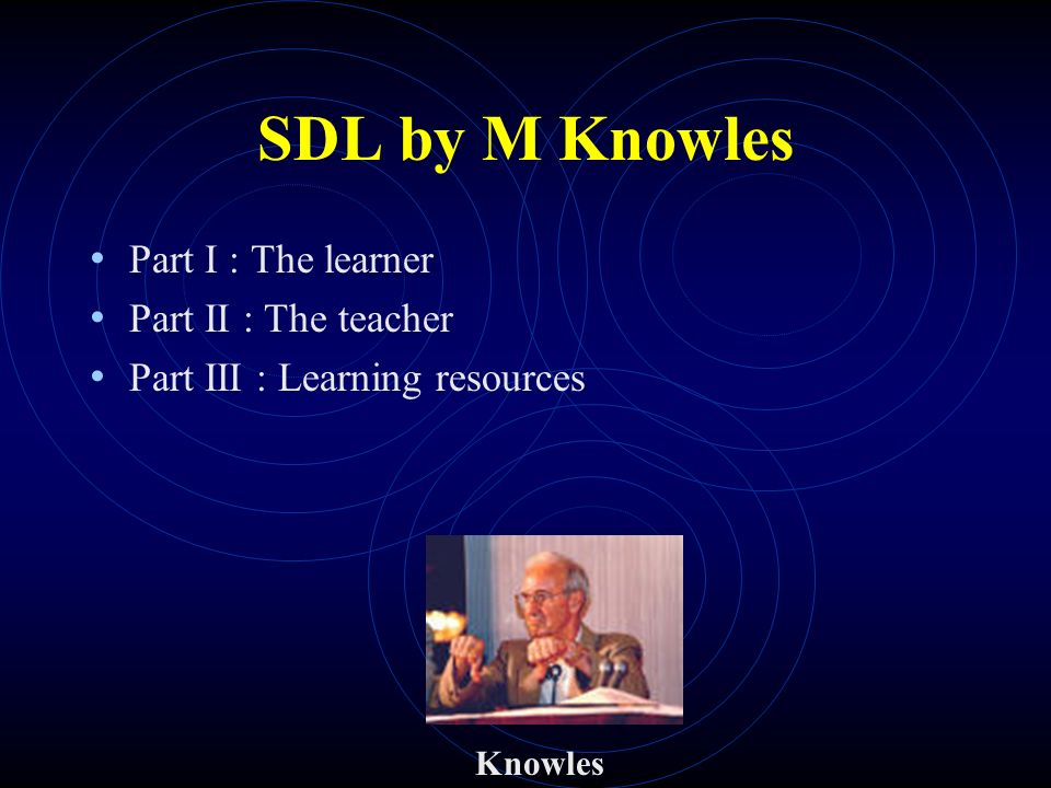 SDL by M Knowles Part I : The learner Part II : The teacher Part III : Learning resources Knowles