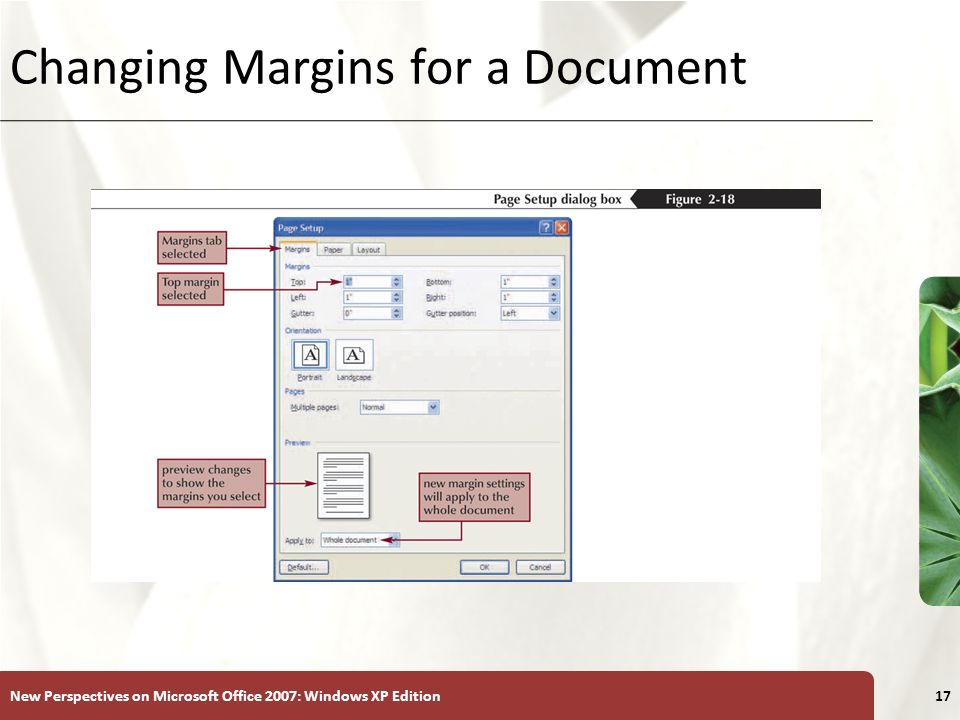 XP New Perspectives on Microsoft Office 2007: Windows XP Edition17 Changing Margins for a Document