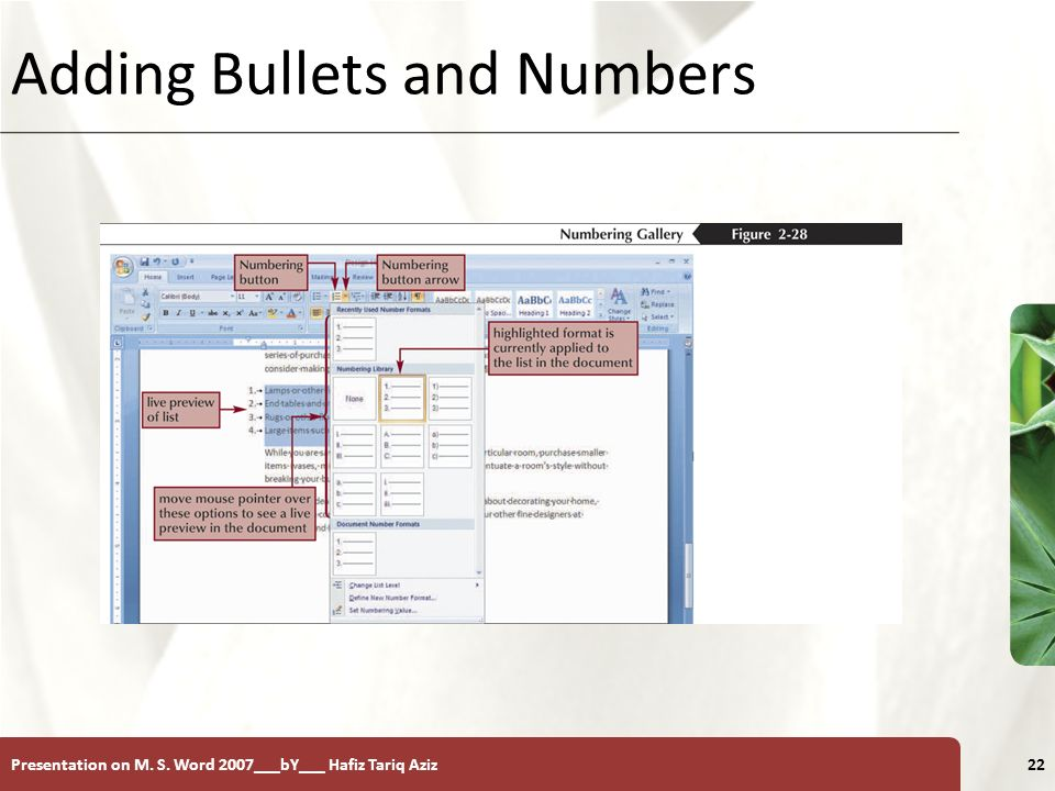 XP Presentation on M. S. Word 2007___bY___ Hafiz Tariq Aziz22 Adding Bullets and Numbers