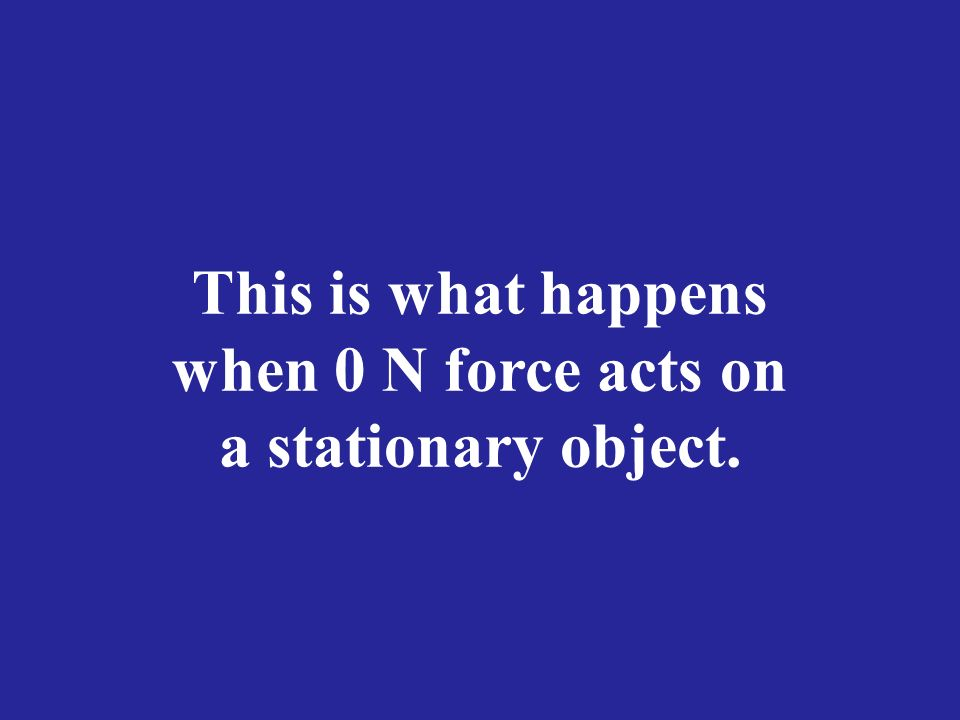 This is what happens when 0 N force acts on a stationary object.