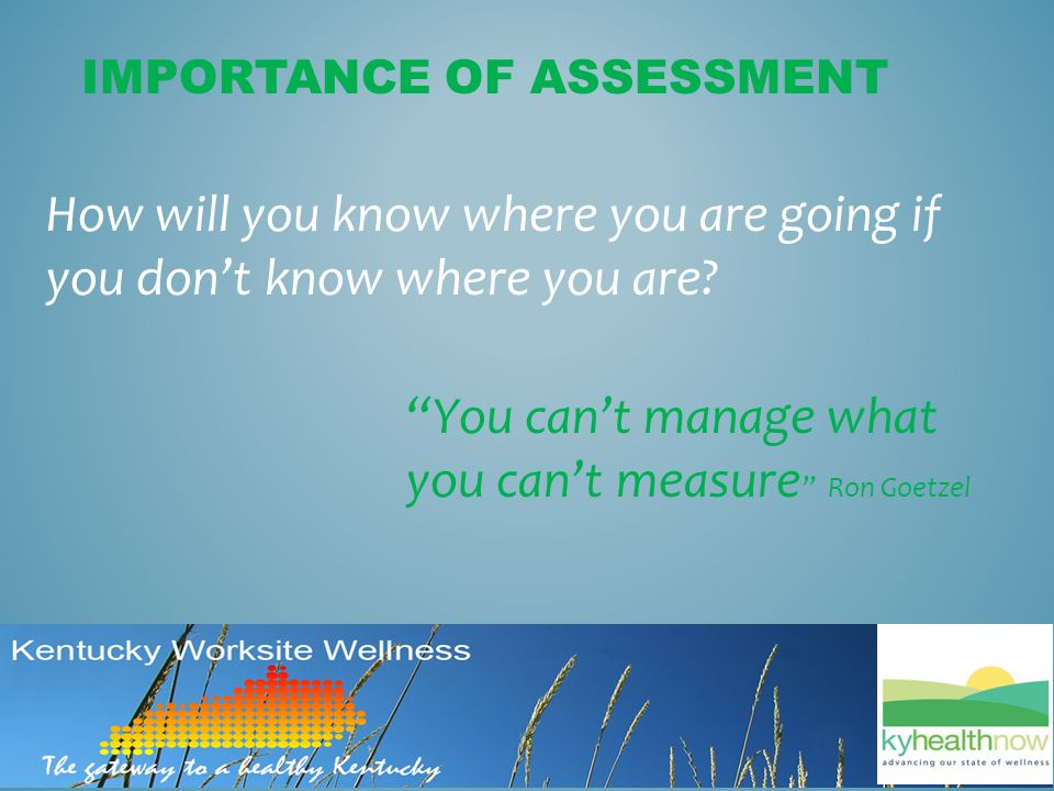 You can't manage what you can't measure Ron Goetzel IMPORTANCE OF ASSESSMENT How will you know where you are going if you don't know where you are