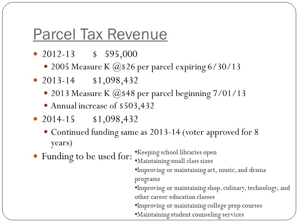 Parcel Tax Revenue $ 595, Measure per parcel expiring 6/30/ $1,098, Measure per parcel beginning 7/01/13 Annual increase of $503, $1,098,432 Continued funding same as (voter approved for 8 years) Funding to be used for: Keeping school libraries open Maintaining small class sizes Improving or maintaining art, music, and drama programs Improving or maintaining shop, culinary, technology, and other career education classes Improving or maintaining college prep courses Maintaining student counseling services
