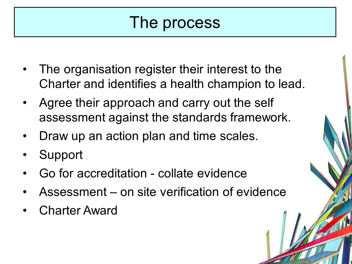 The process The organisation register their interest to the Charter and identifies a health champion to lead.