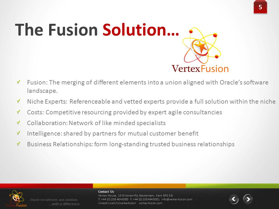 5 5 The Fusion Solution… Fusion: The merging of different elements into a union aligned with Oracle's software landscape.