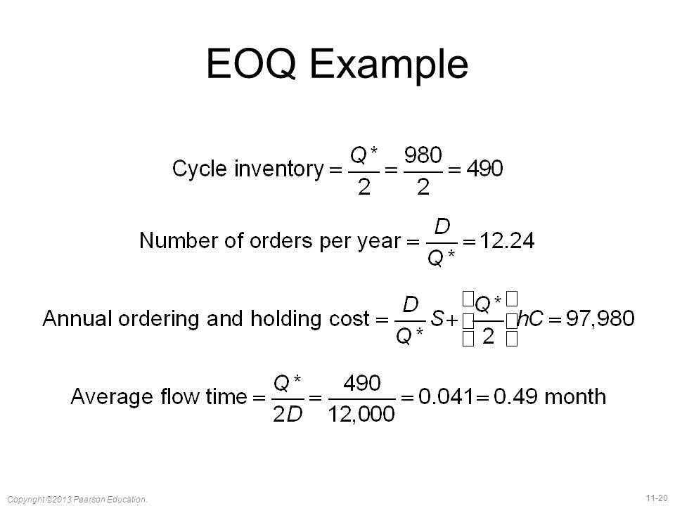 11-20 Copyright ©2013 Pearson Education. EOQ Example