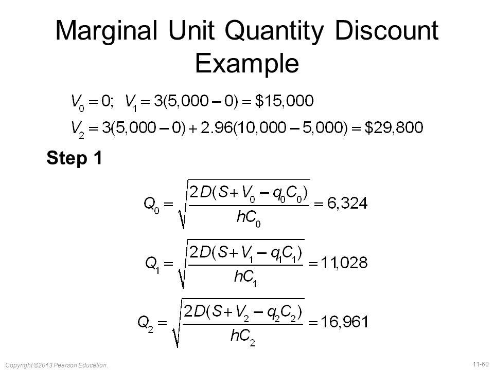 11-60 Copyright ©2013 Pearson Education. Marginal Unit Quantity Discount Example Step 1