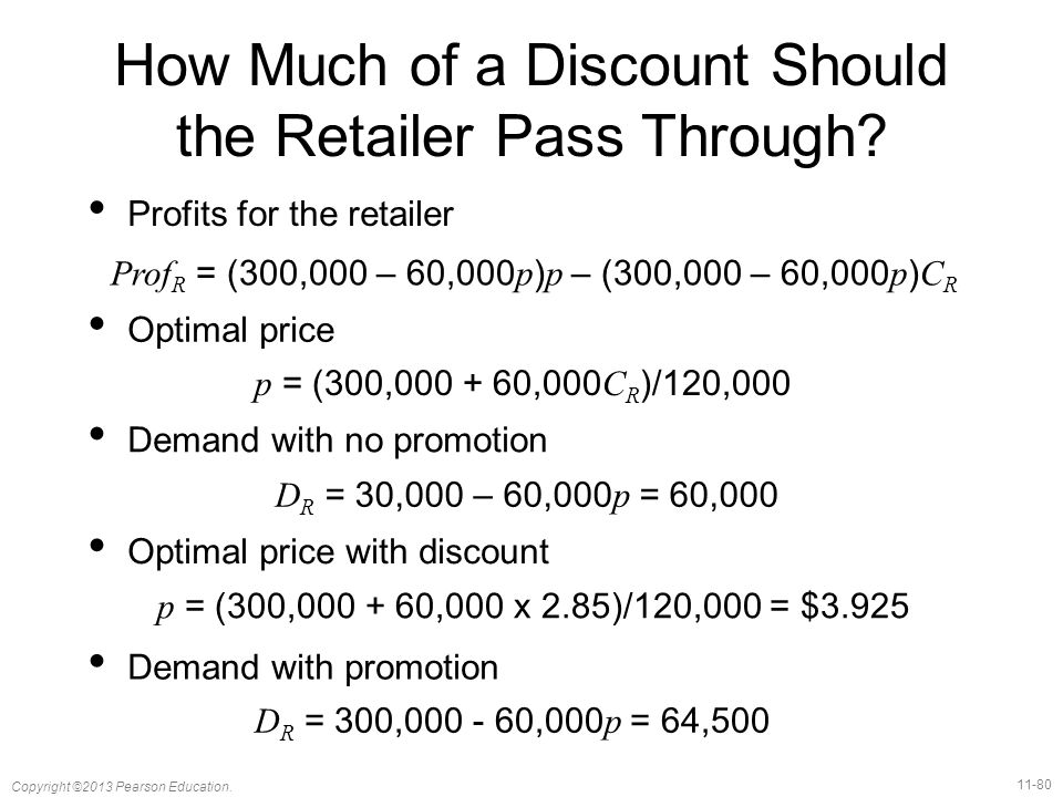 11-80 Copyright ©2013 Pearson Education. How Much of a Discount Should the Retailer Pass Through.