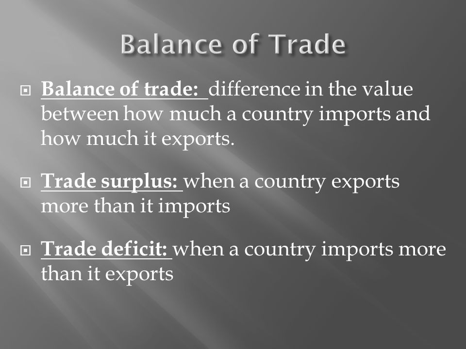  Balance of trade: difference in the value between how much a country imports and how much it exports.