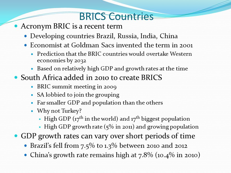 bric countries case study Directorate-general for external policies of the union directorate b policy department study the role of brics in the developing world abstract the role of brazil.